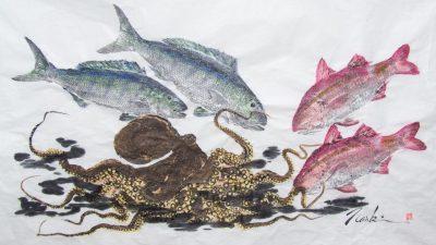 Image: Gyotaku print of octopus and fish