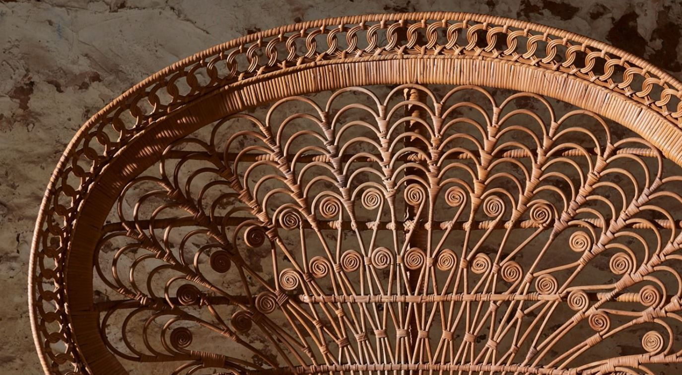 "Image: The top of a Ratan ""Peacock Chair"""