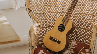 Image: Guitar on peacock chair.