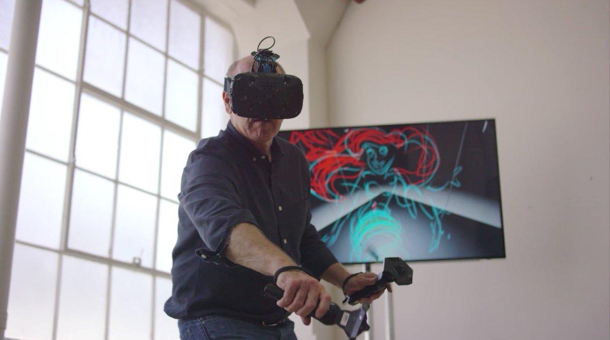 Image: Former Disney animator Glen Keane sketches Ariel with tilt brush virtual reality technology