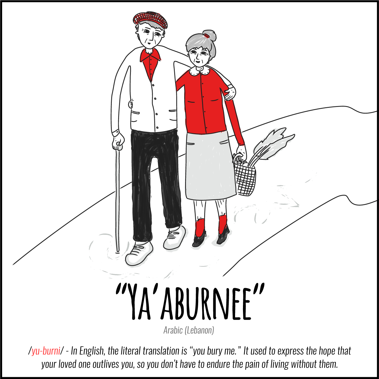 "Illustration: Untranslatable Words about love, Ya'aburnee (Arabic, Lebanon) In English, the literal translation is ""you bury me."" Its used to express the hope that your loved one outlives you, so you don't have to endure the pain of living without them."