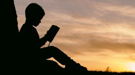 Image: silhouette of a young person reading