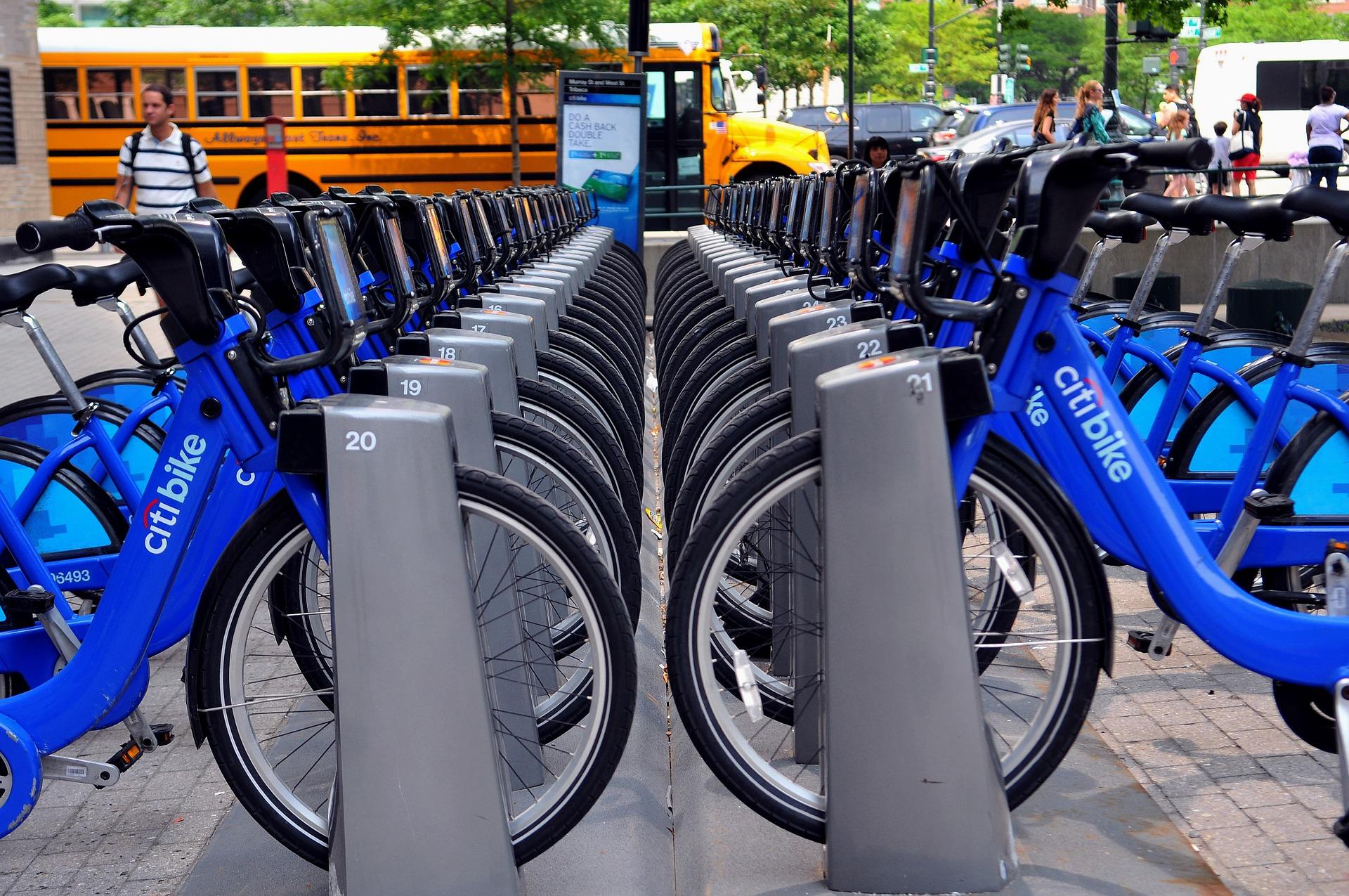Image: Citi Bike docking area full of bikes
