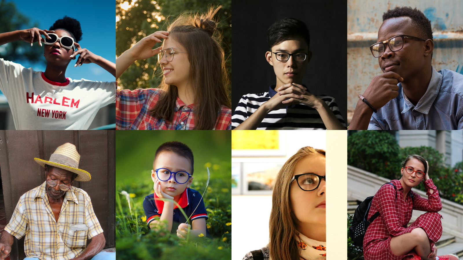 Image: People wearing different kinds of glasses