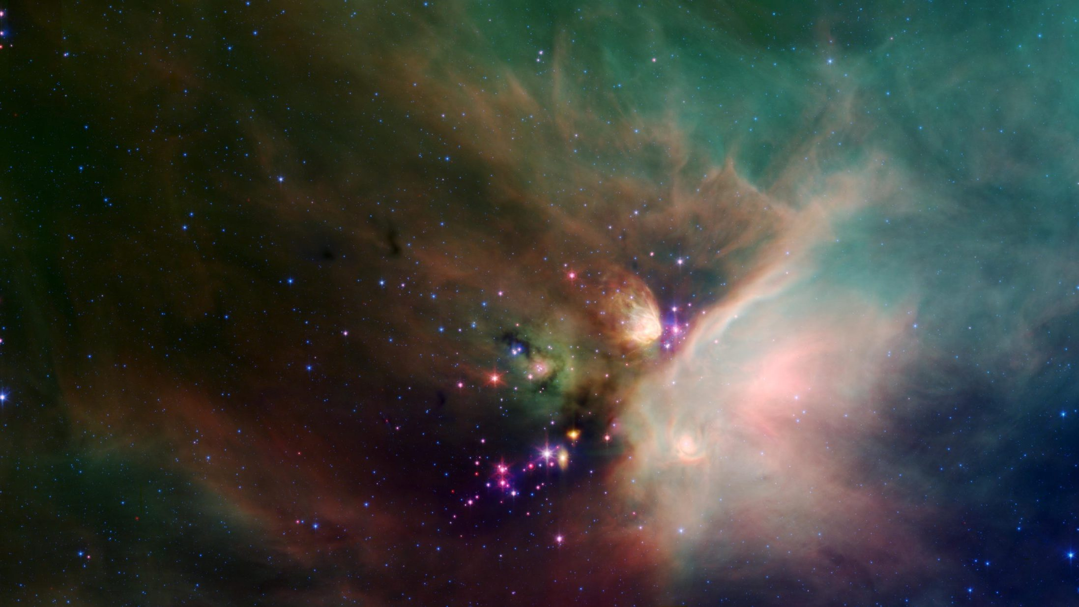 Image: Image from NASA of newborn stars in a cloud of dust