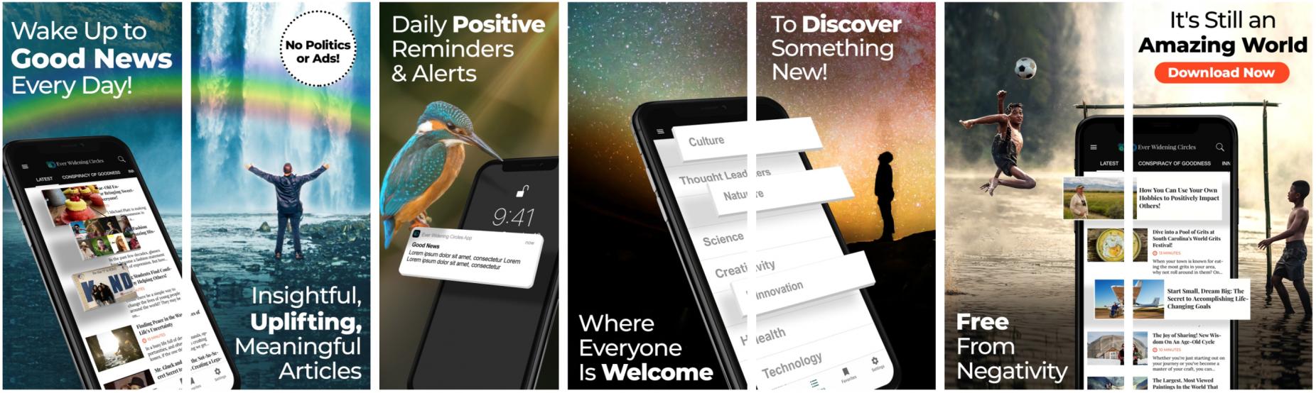Image: Screen shots of the EWC app