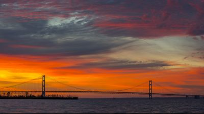 Image: Mackinac Bridge at sunset