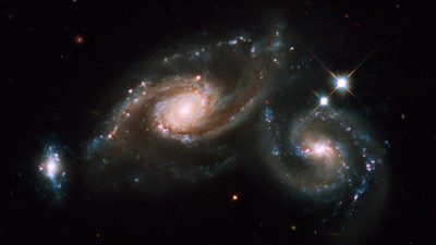 Image: On 1-2 April Hubble's Wide Field Planetary Camera 2 captured Arp 274 (also known as NGC 5679). Arp 274 is a system of three galaxies that appear to be partially overlapping in the image, although they may be at somewhat different distances.