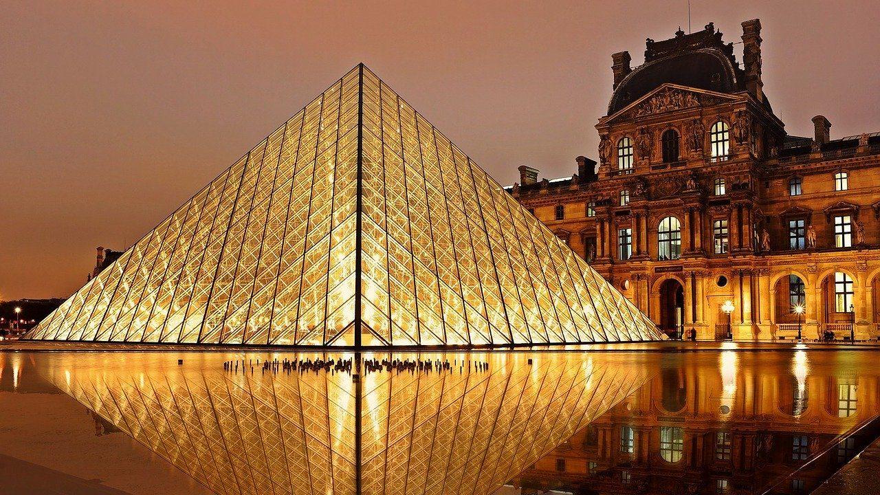 Image: Louvre pyramid at night