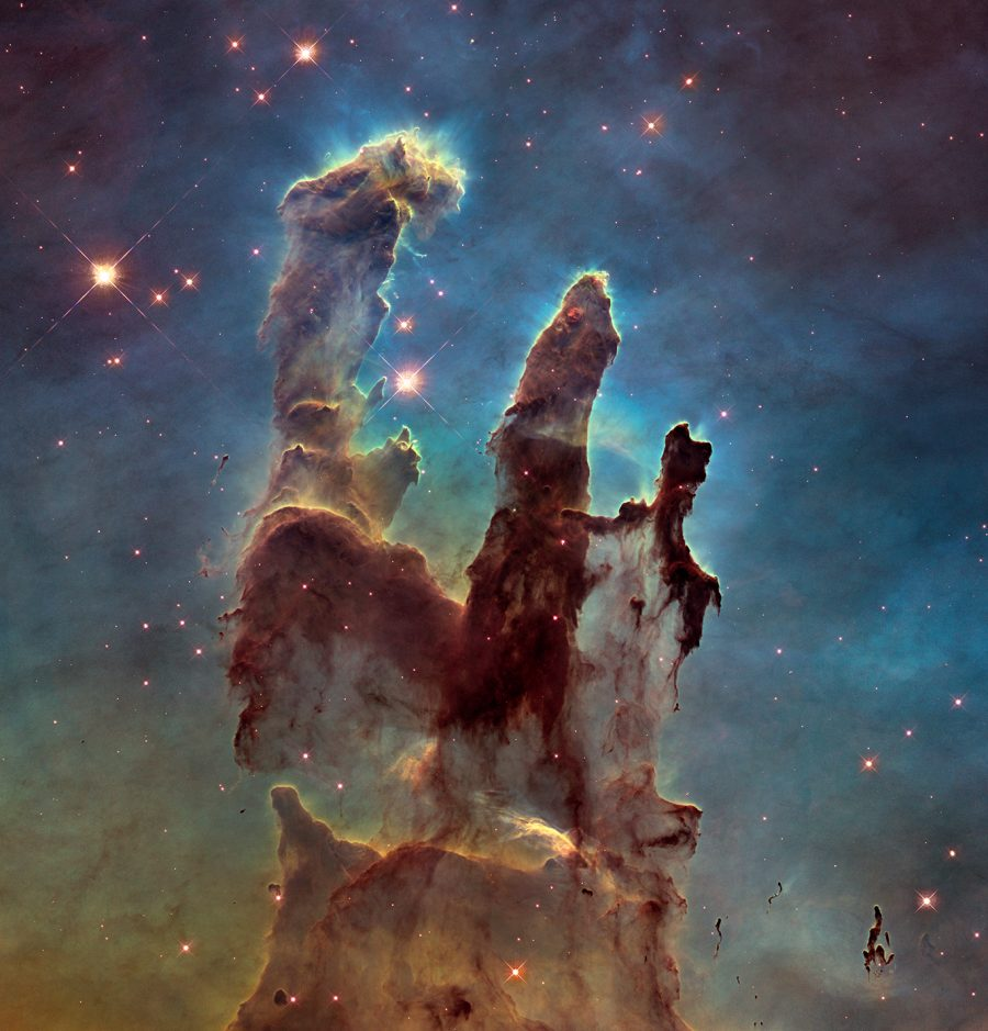 Image: These towering tendrils of cosmic dust and gas sit at the heart of M16, or the Eagle Nebula. The aptly named Pillars of Creation, featured in this stunning Hubble image, are part of an active star-forming region within the nebula and hide newborn stars in their wispy columns.