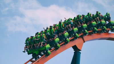 Image: people riding a roller coaster!