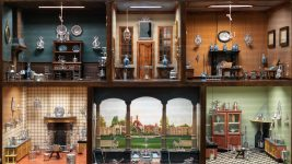 Image: six different rooms with tiny trinkets in a 1700s doll house!