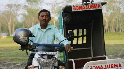 Image: Karimal Haque on his bike ambulance
