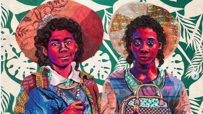 """Image: Bisa Butler Quilt """"Sisters, 2020"""""""