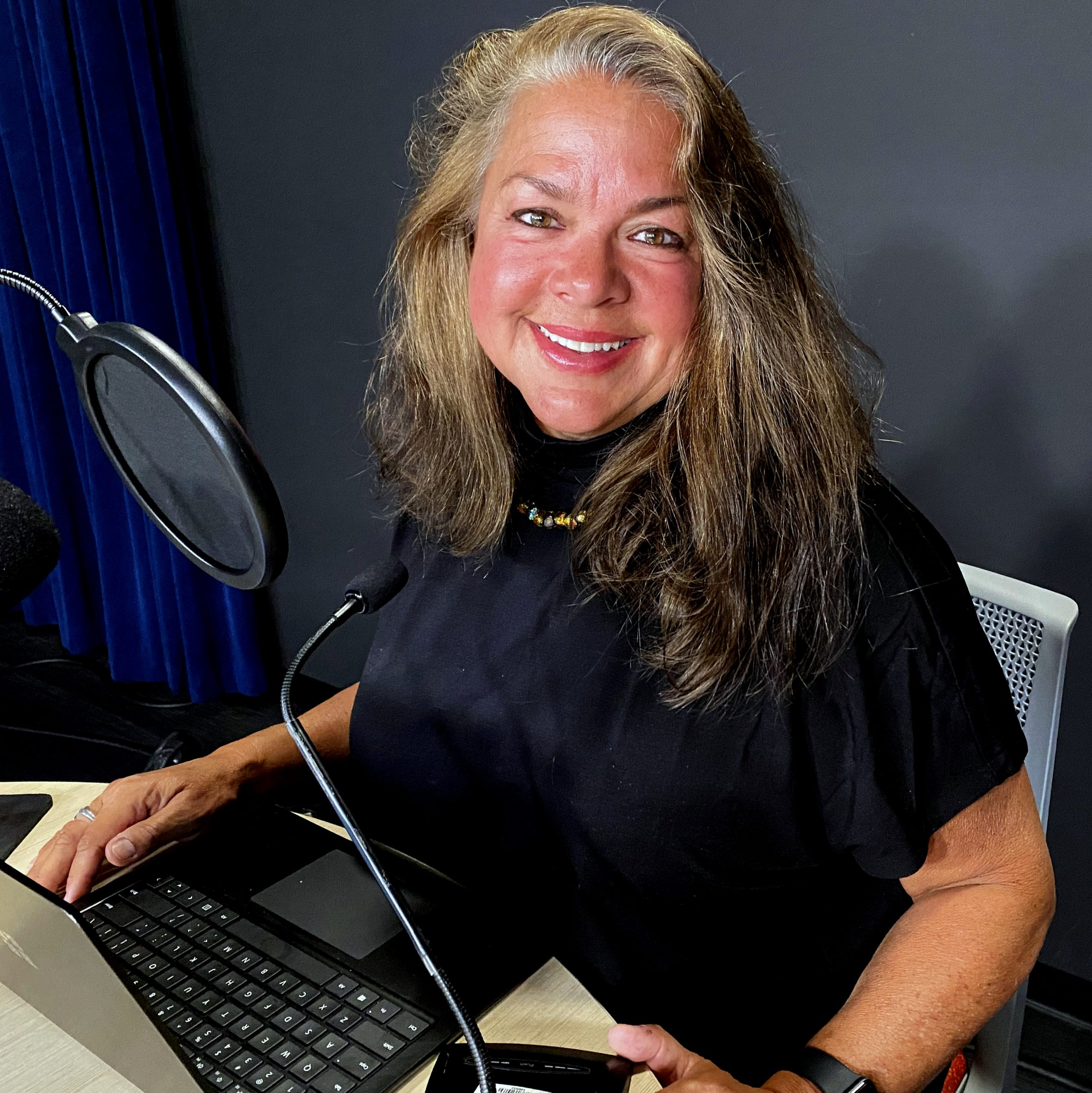 Image: Dr. Lynda Recording Her Audiobook