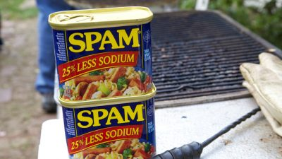 Image: Two cans of Spam by the grill!