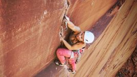 Image: Hazel Findley climbing up Concepcion in Utah