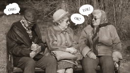 Image: three older people sitting on a bench, two women chatting, one man reading a book with speech bubbles that have teenage slang from a range of time!