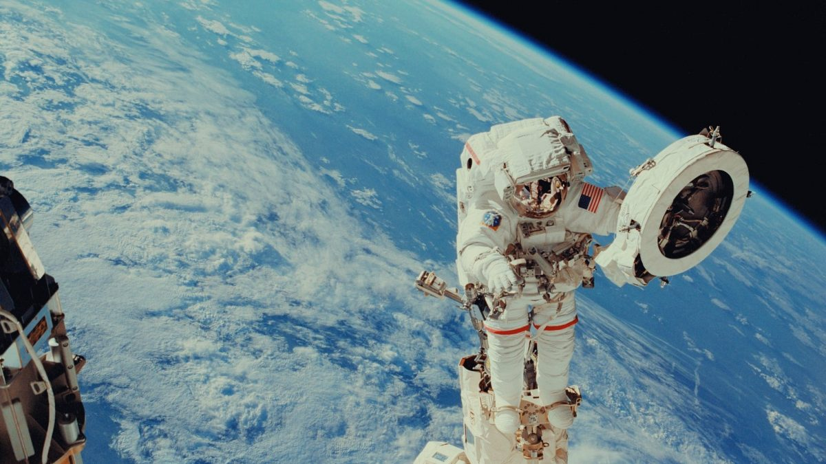 Image: Astronaut Franklin R. Chang-Diaz works with a grapple fixture during extravehicular activity to perform work on the International Space Station